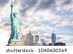 the statue of liberty with... | Shutterstock . vector #1040600569