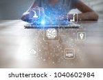 microchip  cpu  processor ... | Shutterstock . vector #1040602984