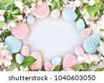 homemade festive eggs cookies ... | Shutterstock . vector #1040603050
