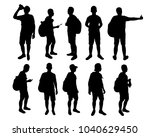 set of standing young man with... | Shutterstock .eps vector #1040629450