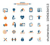 25 fitness icons set  gym ... | Shutterstock .eps vector #1040636413
