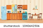 cozy kitchen interior with... | Shutterstock .eps vector #1040642506