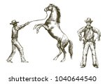 wild west  cowboy and horse ... | Shutterstock .eps vector #1040644540