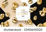 Stock vector easter card with square frame gold ornate eggs and confetti on colorful modern geometric 1040645020