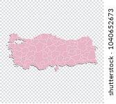 turkey map   high detailed... | Shutterstock .eps vector #1040652673