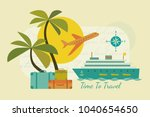 time to travel icons. flat... | Shutterstock .eps vector #1040654650