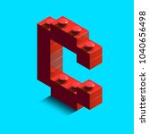 realistic red 3d isometric... | Shutterstock .eps vector #1040656498