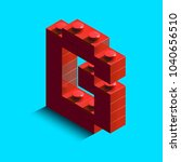 realistic red 3d isometric... | Shutterstock .eps vector #1040656510