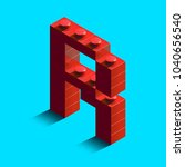 realistic red 3d isometric... | Shutterstock .eps vector #1040656540