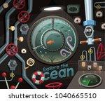 explore the ocean   view under... | Shutterstock .eps vector #1040665510