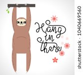 the sloth hanging on the... | Shutterstock .eps vector #1040669560