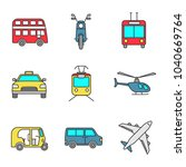 public transport color icons... | Shutterstock .eps vector #1040669764