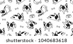 Stock vector french bulldog seamless pattern dog bone isolated paw vector bow breed wallpaper background white 1040683618