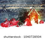 christmas lantern fruit berries ... | Shutterstock . vector #1040728504