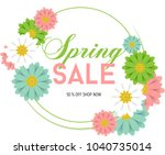 poster spring sales with... | Shutterstock .eps vector #1040735014