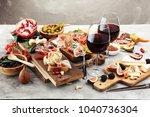 italian antipasti wine snacks... | Shutterstock . vector #1040736304