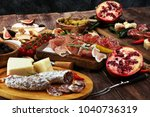 italian antipasti wine snacks... | Shutterstock . vector #1040736319