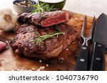 barbecue rib eye steak  dry... | Shutterstock . vector #1040736790