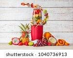 smoothie maker mixer with fruit ... | Shutterstock . vector #1040736913