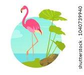 pink flamingo standing in water ...   Shutterstock .eps vector #1040739940
