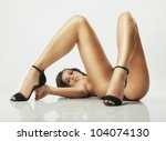 sexy glamour pose girl lying on ... | Shutterstock . vector #104074130