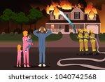 a vector description of firemen ...   Shutterstock .eps vector #1040742568
