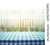 checkered tablecloth on blur of ... | Shutterstock . vector #1040743390