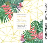 tropical wedding invitation on... | Shutterstock .eps vector #1040753620
