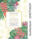 tropical wedding invitation on... | Shutterstock .eps vector #1040753629