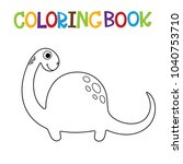 cute dino coloring book. | Shutterstock .eps vector #1040753710