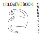 cute dino coloring book. | Shutterstock .eps vector #1040753728