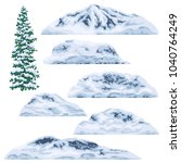 set of snow capped mountains... | Shutterstock .eps vector #1040764249