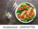 grilled chicken breast. fried... | Shutterstock . vector #1040767750