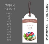 happy easter  price list with a ... | Shutterstock .eps vector #1040768389