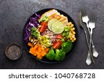buddha bowl dish with chicken... | Shutterstock . vector #1040768728