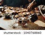 lebanon cuisine served in... | Shutterstock . vector #1040768860