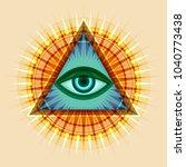 all seeing eye of god  the eye... | Shutterstock .eps vector #1040773438