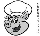 pig with chef hat illustration  ... | Shutterstock .eps vector #1040775790