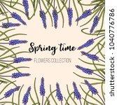 spring flowers muscari frame.... | Shutterstock .eps vector #1040776786