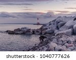 iced coast river lake during... | Shutterstock . vector #1040777626