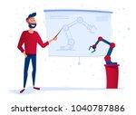 new robot presentation. a man... | Shutterstock .eps vector #1040787886