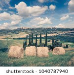 retro style view of the wheat... | Shutterstock . vector #1040787940