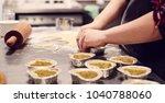 pastry cook preparing heart... | Shutterstock . vector #1040788060