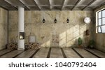 grunge interior with old wall... | Shutterstock . vector #1040792404