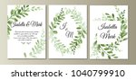 botanic card with wild leaves. ... | Shutterstock .eps vector #1040799910