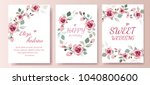 set of card with flower roses ... | Shutterstock .eps vector #1040800600