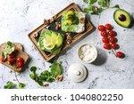 vegetarian sandwiches with...   Shutterstock . vector #1040802250