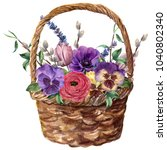 Watercolor Basket With Flowers. ...
