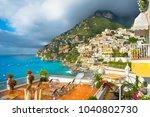 beautiful view of the positano...   Shutterstock . vector #1040802730