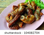 Intestines grilled ; Asian cooking - stock photo